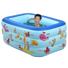 Inflatable Pool 3 layers Portable kids splashing ocean balls sand tub baby Inflatable swimming pool children bathtub 130x85x55cm(China)