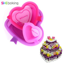 Shebaking 3pcs/set Heart Silicone Cake Mold 3D Fondant Bread Mousse Muffin Mold DIY Baking Pastry Tools Big Capacity For Family(China)