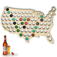 Free Shipping 1Piece Customized Wooden Beer Cap Map Pop Soda Cap Map USA Brazil Russia State Map Cap Collection Art Bar Decor