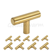 10 Pieces Polished Brass Golden Cabinet Knobs LS201PB T Bar Kitchen Door Knob Furniture Drawer Pulls Stainless Steel