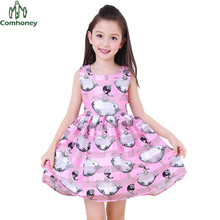 Teenager Girls Dress Sleeveless Girls Sun Dress Princess Print Summer Kids Dresses For Girls Tunic Party Baby Ball Gown Comhoney