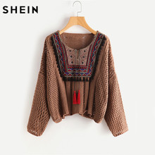 SHEIN Tasseled Tie Embroidered Yoke Eyelet Jumper Autumn 2017 Coffee Round Neck Long Sleeve Casual Loose Sweater(China)