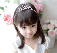 C New 1pc Wedding Crown Headband Princess Tiaras Shaped Hair Band Hair Accessories Shiny Glitter Rhinestone Crystal Hair Band(China)