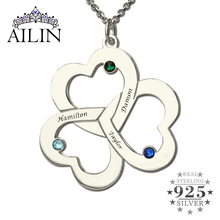 Personalized Triple Heart Name Necklace Silver Engraved Birthstone Brand Mother Necklace Our Hearts Together Love Mother Jewelry
