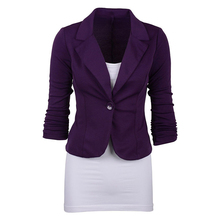 Women's Casual Work Solid Color Knit Blazer Plus Size One button Jacket(Navy blue,L/US-12~14)(China)