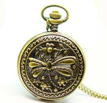 (1008) 12 pcs/lot Vintage Floral Dragonfly Pocket Watch Necklace.Large size . free shipping(China)