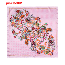 Head scarf Silk Womens scarfs fashionable Printed For Ladies flower hijab scarf neckerchief square 60cm PINK BC01(China)