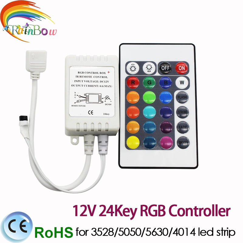 1pcs strip controller 24key LED Controller RGB Colorful With IR Remote Controlfor SMD5050 / 3528/5630 Led Strip Lights DC12V(China)