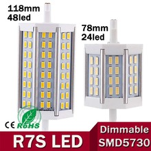 Free Shipping 1pcs/lot R7S LED 118mm 78mm 15W 25W 35w J118 J78 J189 LED R7S dimmable 5730 corn bulb replace Halogen floodlight(China)