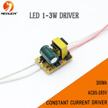 Free shipping (1-3)x 1W 3x1W Led Driver 1W 2W 3W Lamp Driver Power Supply Lighting Transformer AC85-265V(110V/220V) Output 300mA