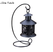 Retro Iron Moroccan Style Christmas Candlestick Lamp Candleholder Light wedding decoration candlestick White Black candle holder(China)