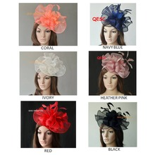 NEW  ARRIVAL.Big Sinamay  fascinator hat with feathers for kentucky derby wedding.coral,fuchsia,navy blue,cream and heather pink
