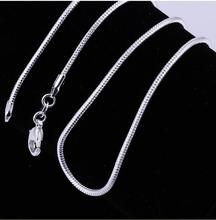 "10PC Fine Jewelry Findings 16""-24"" Necklace Chains Silver Plated1MM Snake Chain+Lobeter Clasp Jewellery Sets For Pendant(China)"