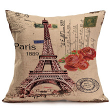 45x45cm Cotton Linen Cushion Cover Retro Vintage Franch Paris Eiffel Tower Pillow Cover Car Sofa Throw Pillowcase Home Decor