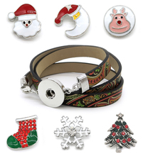 Fashion Ginger Pu Snaps Jewelry 18mm Snap Button DIY One Bracelet with 6 Piece Christmas Tree Deer Snap Button Christmas Gift