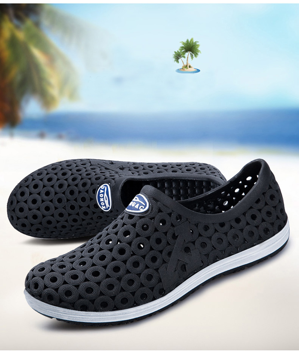 MAISMODA Summer Men Fashion Flats Hollow Out Hole Beach Breathable Sandals  Light Casual Beach Shoes Soft Comfortable YL255 8eece5fdd07b