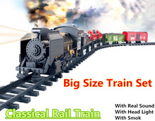 Big Size Classic toys Battery Operated Railway Rail Train Electric Toy Railway Car with Sound&Light&Smoking Rail Car for Child