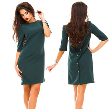 Casual Summer fashion new women sheath slim dress o-neck half sleeve a row of buttons back dress sexy bodycon club dresses