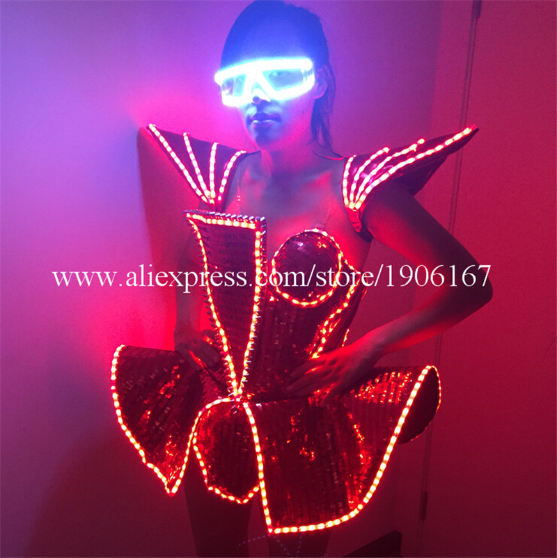 LED Lady Sexy Clothing Luminous Flashing Women Dress Costumes Suits Party Dance Accessories Event Party Supplies2