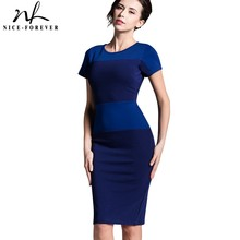 Nice-forever new Women's summer knee-length Vintage European Style Back Zipper Stripe Splicing Pencil Bodycon party Dresses 463