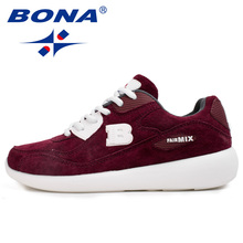 BONA New Basic Style Women Running Shoes Cow Leather Sport Shoes Outdoor Jogging Walking Sneakers Comfortable Athletic Shoes