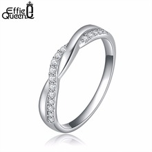 Effie Queen 2017 Fashion Jewelry Finger Rings with Paved AAA Austrian Cubic Zircon Wedding Engagement Ring Gift DR44(China)