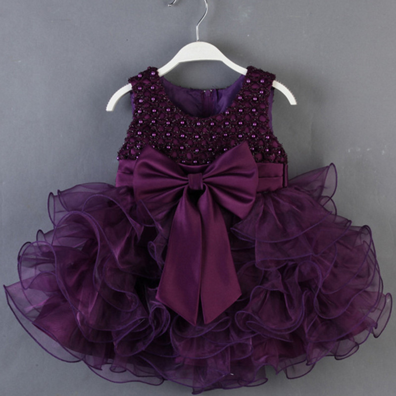 Formal Dress 1 Year Baby Girl Birthday Tutu Dress 1-5 years Toddler Girl Handmade Pearls Big Bow Princess Party Dress<br><br>Aliexpress