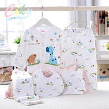 (5pcs/set)Newborn Baby Set 0-6M Cute Giraffe Infant Clothing Set Brand Boy Girl 100% Cotton Cartoon Underwear Yellow Blue Pink