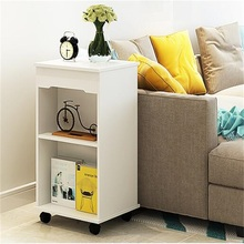 42x36x76CM Modern Wood Bedside Table Sofa Side Coffee Table Living Room Storage Cabinet Wheels