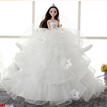 2017 Fashion 48cm Soft Humanoid Doll 3D Eye Moveable Joint Body Wedding Design Dress With Toy Girls Kids Dolls Best Quality Gift