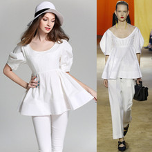 BURDULLY 2017 SheIn Women Tops and Blouses New Fashion Women Shirt Ladies Tops white Keyhole Back Lantern Sleeve Top Blouse
