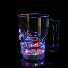 Creative Gifts LED Colorful Flashing Skull head Cup,Whiskey Cup, wedding, bar, celebration props glowing toys