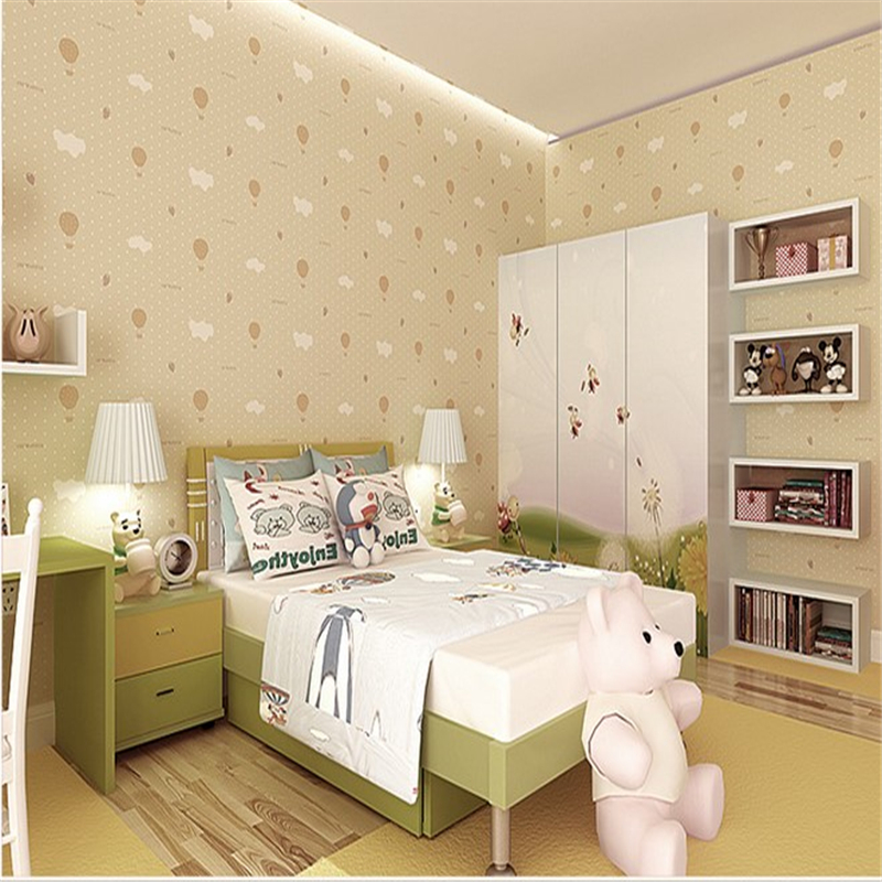 beibehang Non-woven breathable wallpaper warm childrens bedroom bedroom wallpaper cute pink strawberry parachute<br>