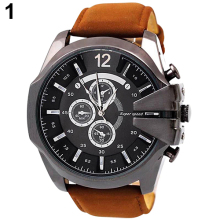 Retro Stainless Steel Faux Leather Band Analog Big Dial Quartz Watches for Men Wholesale 6UEV(China)