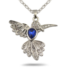 my shape Big Ocean Blue Crystal Stone Hummingbird Pendant Animal Lover Natural Necklace Silver Plated Chain for Women