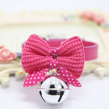 Adjustable Bowtie Small Dog Collar with Big Bell Charm Cute Wool Bow Tie Puppy Pet Leather for Dogs Cats Small Medium Size(China)