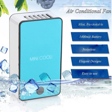 2017 New Mini Portable HandHeld Table Air Conditioner Cooler Cooling USB Rechargeable Battery Bladeless Fan(China)