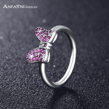 ANFASNI 2017 New Collection 925 Sterling Silver Purple CZ Bow Ring For Women Girls Jewelry Anillos PSRI0020-B(China)