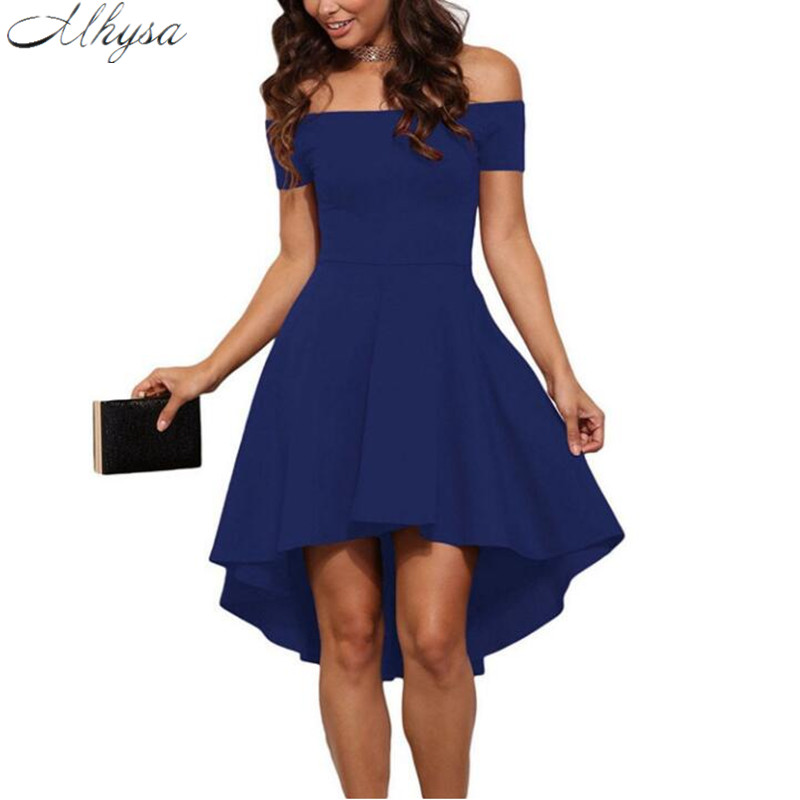 Mhysa 2017 New fashion sexy dress short-sleeved one-piece collar lady dress asymmetrical knee-length dress H63