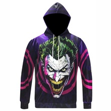 5XL Men Women Suicide Squad 3D Hoodies Green Hair Joker Hooded Sweatshirt Hip Hop Men Character Pullovers Tracksuits Wholesales