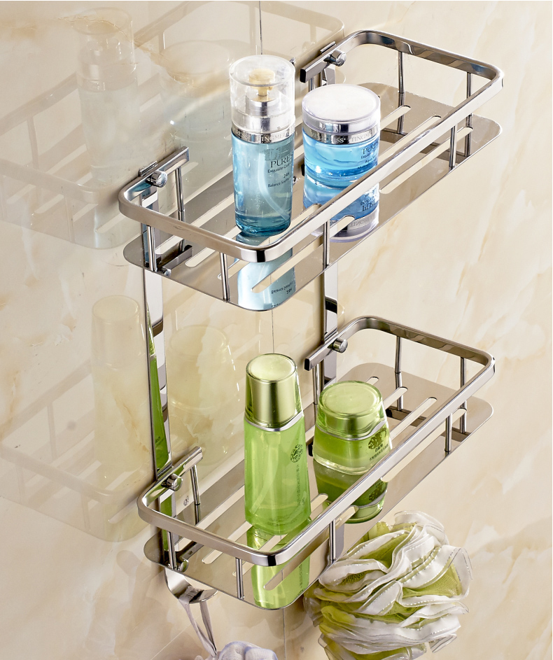 304 Stainless Steel Basket Rack Square Toilet Bathroom Storage Wall Mount Chrome Finish Bathroom Shelves 2 Layers<br>