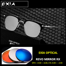Prescription Sunglasses Men Classic Frame Design with Polarized Mirrro Silver Coatings AR Green EXIA OPTICAL KD-102 Series