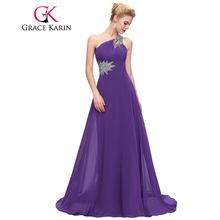 Grace Karin One Shoulder Long Evening Dress Chiffon Formal vestidos Blue Purple Pink Red Elegant Evening Gowns Party Dress 2017