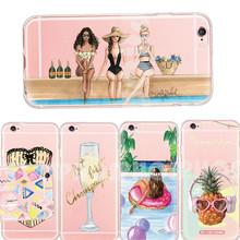 Charming Sandbeach Sexy Woman Pineapple Glass Dress TPU Phone Case For iphone 5 5s se 6 6s 6s 7 Plus Clear Fundas Silicon Shells