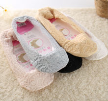 1 pairs Women Girls Lace Print Solid Thin No Show Peds Boat Ballet Plain Footies Socks Summer Ladies Sock Slippers Liner Socks(China)