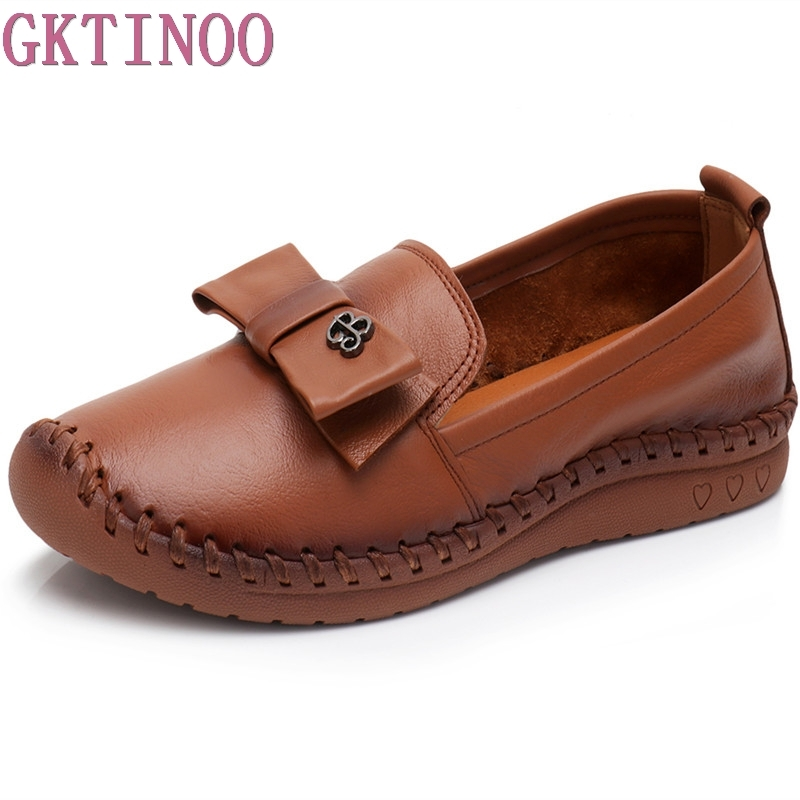 GKTINOO Genuine Leather Flat Comfortable Casual Shoes Women Flats Soft Single Shoes Solid Women Loafers Plus Size 35-43<br>