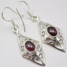 Chanti International Silver NATURAL CABOCHON GARNET EXTRA ORDINARY CAST Earrings 4.2 CM(China)