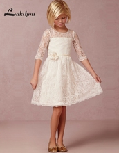 Fashion Jewel Half Sleeve Lace Flower Girls Dresses A-line Knee Length Girl Pageant Dresses
