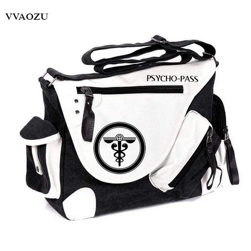High Quality Psycho-pass Cartoon Unisex Patent Leather+Canvas Crossbody Bag Fashion Brand Men Messenger Shoulder Bags<br>