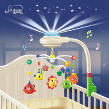 Baby Musical Crib Mobile Bed Bell Toys Plastic Hanging Rattles Toy Newborn Infant 0-12 Months Starry Projection Rotating Bracket